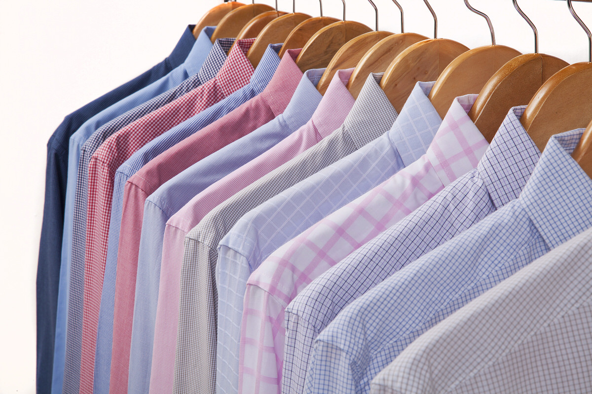Cloth Hangers with Shirts in several colors and textures